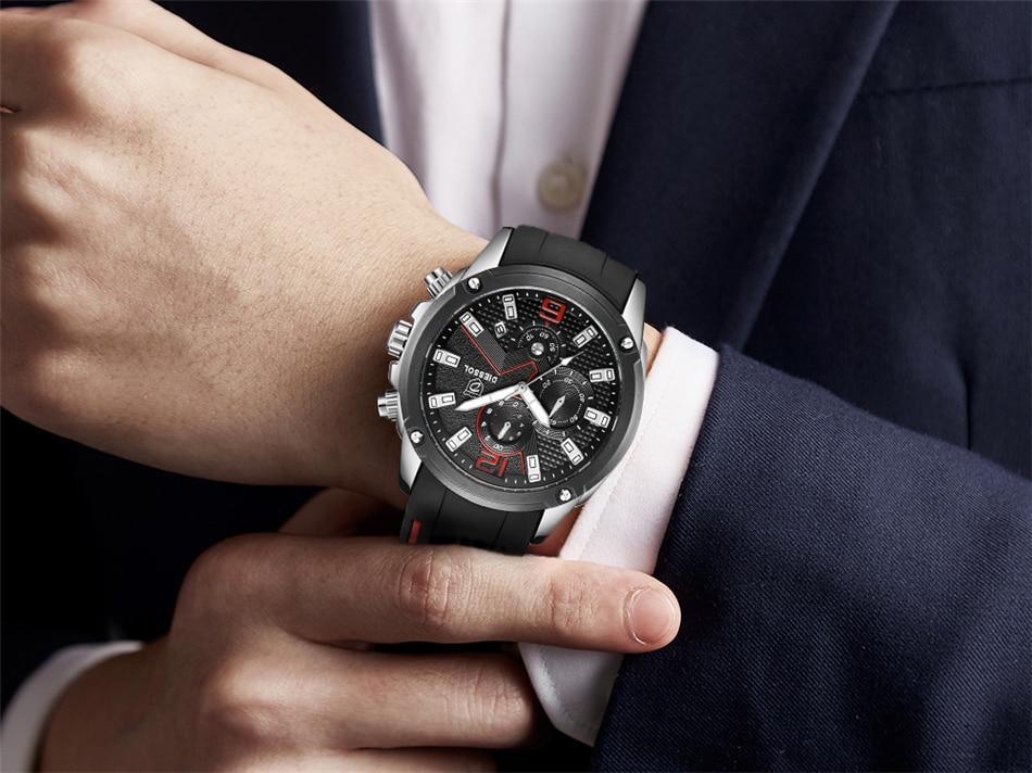 DIESSOL Men's Fashion Sports Quartz Watch Mens Watches Top Brand Luxury Rubber Band Waterproof Business Watch Relogio Masculino 30