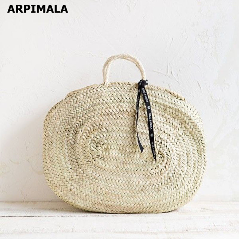 ARPIMALA 2018 Moroccan Palm Basket Bag Women Hand Woven Round Straw Bags Natural Oval Beach Bag