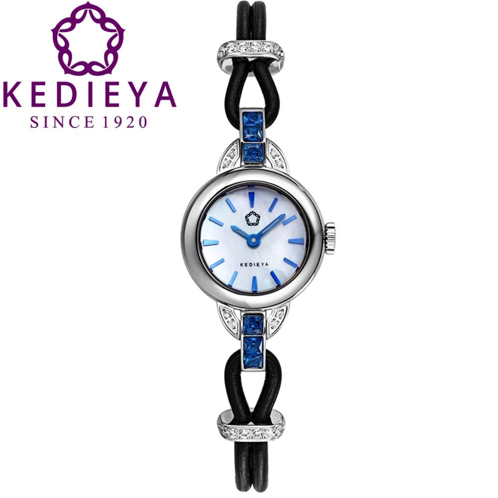 KEDIEYA Womens Luxury Leather Steel Bracelet Zircon Diamond Waterproof Sapphire Glass Japan Miyota Quartz Watches Gift