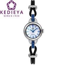 Kedieya женщин роскошные кожаные стальной браслет браслеты циркон алмазная водонепроницаемый Sapphire стекло японский Miyota кварцевые часы подарок