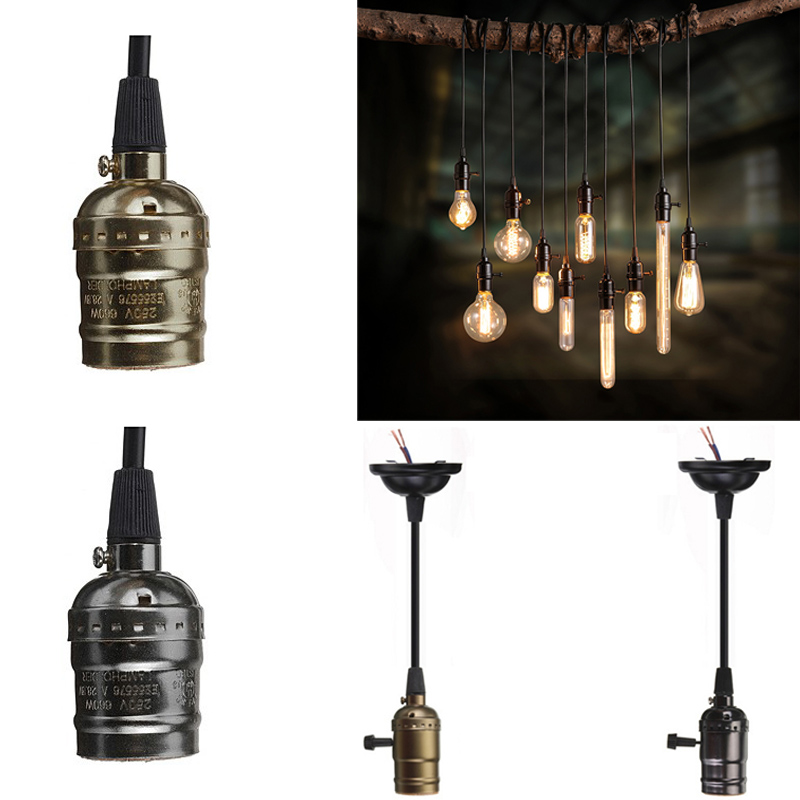 110V 220V Retro Edison Bulb Holder E27 E26 Socket Antique Brass Lamp Base Cord Grip Threaded Lampholder For Pendant Light e27 retro antique edison wall lampholders base light metal bulb socket j type