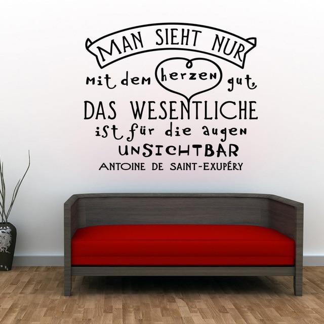 German Man Sieht Nur Mit Dem Herzen Gut Vinyl Wall Stickers Decals Living Room Mural Art Home Decor House Decoration