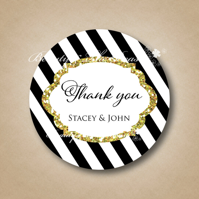 Custom Wedding Thank You Sticker Bottle Labels Cupcake Toppers Tags Candy