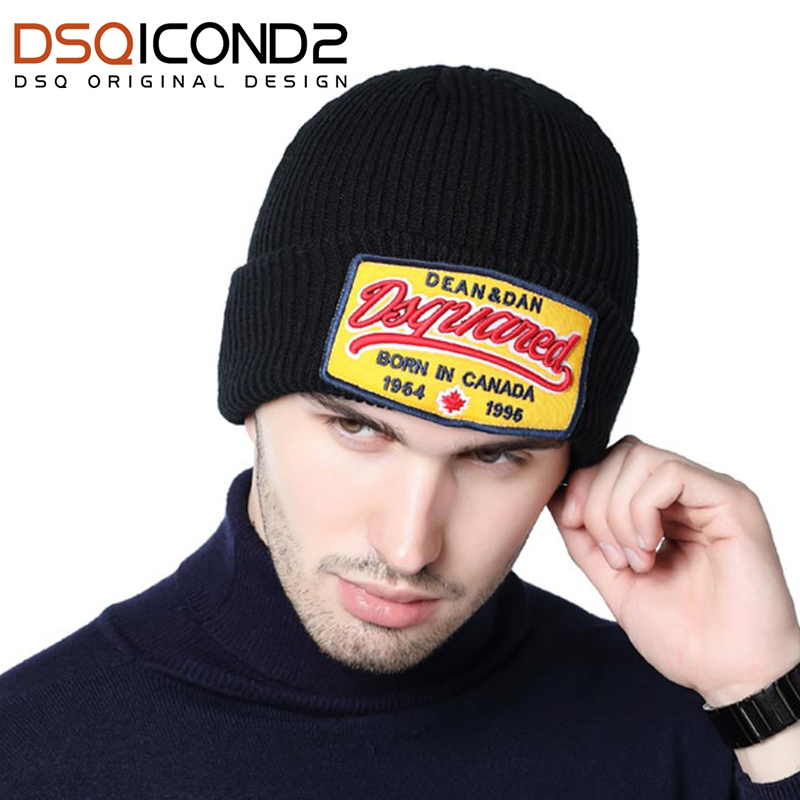 DSQICOND2 Brand Winter Knitted   Skullies     Beanies   Hat for Men Women DSQ Baggy   Beanies   Knit   Skullies   Bonnet Cap Canada Bonnet Homme