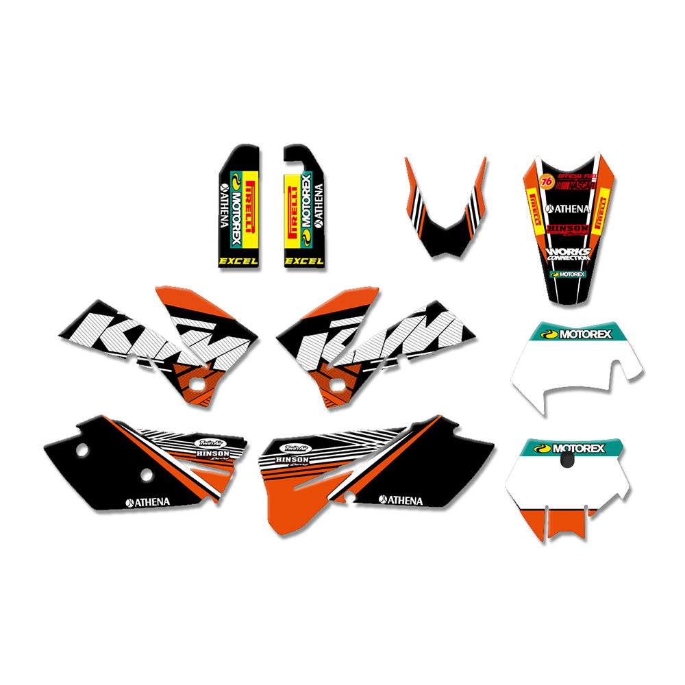4 STYLES TEAM GRAPHICS BACKGROUNDS DECALS STICKERS FOR KTM 125 200 250 300 350 450 500 525 540 SXF MXC SX EXC XC XCW 2005-2007