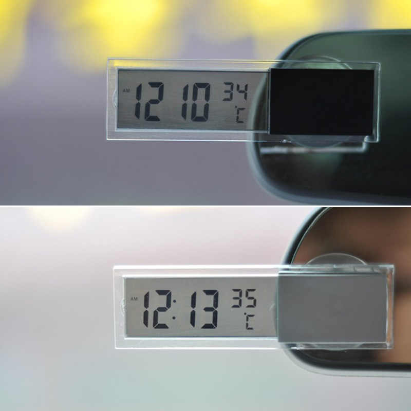 Thuis Auto Digitale Klok Thermometer Transparant Lcd-scherm Automobiel Horloges Met Sucker Ornamenten NJ88