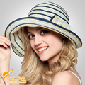 Sun Sombreros Rayados con Arco Informal Al Aire Libre Sombreros de Sun Protección Uv Plegable Niñas Sombreros para el Sol
