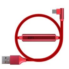 2 pacote 2.4a 90 graus usb tipo c cabo com interruptor e led temporizador para telefones celulares android náilon trançado alum vermelho preto azul