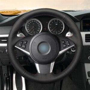 Image 2 - MEWANT Nero Artificiale Volante In Pelle Auto Copertura Della Ruota di Copertura per BMW E60 E61 (Touring) 530d E63 2003 2010 E64 2004 2010