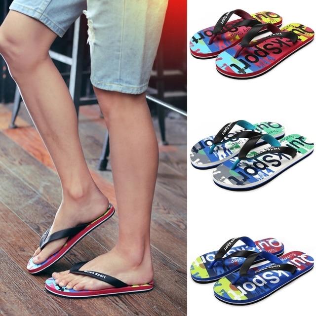 cd8de90d1bc9 New 2018 Men Flip Flops Rubber Thong EVA Sole Camouflage Alphabetic Prints  Shower Sandal