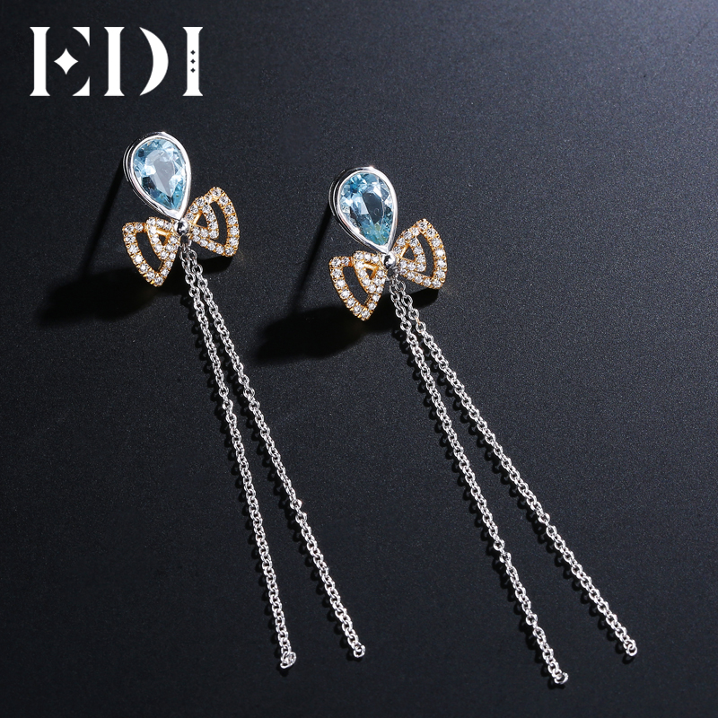 все цены на EDI 6.9mm Natural Sky Blue Topaz Tassels Drop Earrings 100% 925 Sterling Silver Female Cute Bowknot Fine Jewelry онлайн