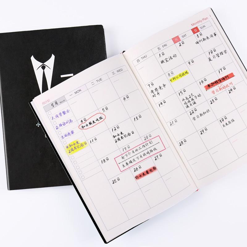купить HUA JIE A5 Business Journal Planner Subject Book Daily Weekly Monthly Schedule Memo Blank Organizer Leather PU Calendar Notepads по цене 2656.87 рублей