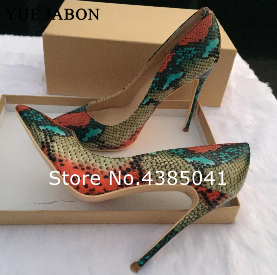Mixed Colored Snake Printed Women Pumps Sexy Pointed Toe <font><b>12</b></font> <font><b>CM</b></font> <font><b>High</b></font> <font><b>Heels</b></font> Wedding Shoes Women Stilettos <font><b>Heels</b></font> Shoes Woman image