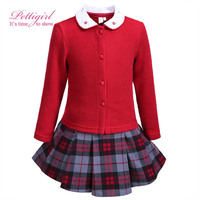 Pettgirl Christmas Girls Clothing Sets Knitted Sweater With Embroidery Collar Bontique Grid Skirt For Kids Wear G-DMCS908-874