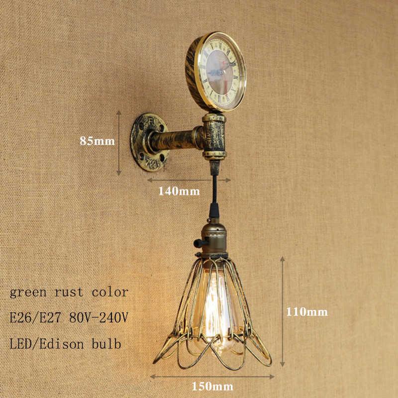 Mỹ LOFT đèn tường cổ điển trong nhà DẪN chiếu sáng sắt gỉ công nghiệp đồng hồ phong cách cho phòng khách phòng ngủ nhà hàng thanh E27