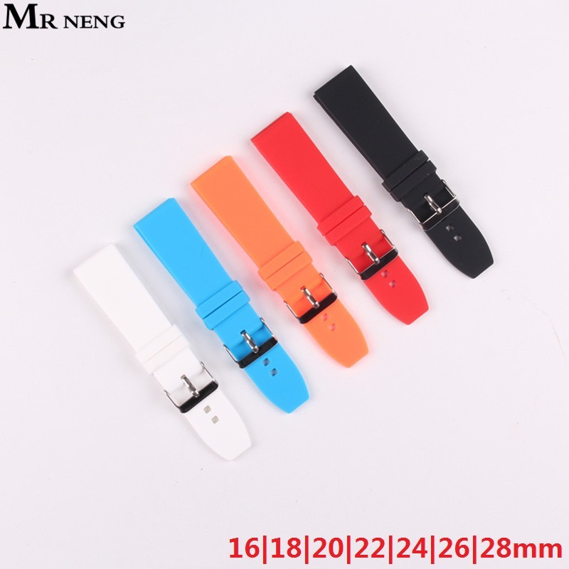 MR NENG Silicone Rubber Watchband 16/18/20/22/24/26/28mm Buckle Watch band Wristwatch strap Belt Black White 5 colors  Strap