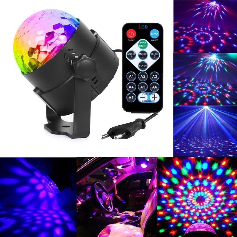 3 W Mini RGB Crystal Magic Ball Sound activado Disco Ball etapa lámpara Lumiere Navidad láser proyector Dj Club fiesta luz Show