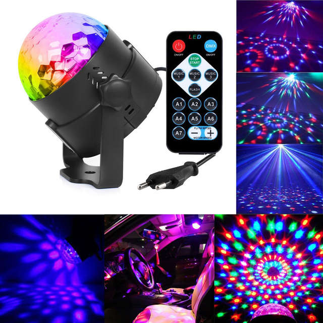 US $10 53 24% OFF|3W Mini RGB Crystal Magic Sound Activated Disco Ball  Stage Lamp Lumiere Christmas Laser Projector Dj Club Party Light Show  #25-in