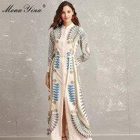 MoaaYina 2018 Fashion Designer Runway Dress Autumn Women Long sleeve Vintage Geometry Print Belt Slim Noble Elegant Maxi Dresses