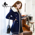 WomensDate 2017 Fashion Double-breasted Thick Wool Coat Fur Collar And Long Sections Slim Women's Navy Wool Coat Trench Coat