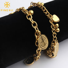 FINE4U B127 Stainless Steel Rolo Chain Bracelet Heart Coins Charm Bracelets For Men Women 2019 Religious Jewelry(China)
