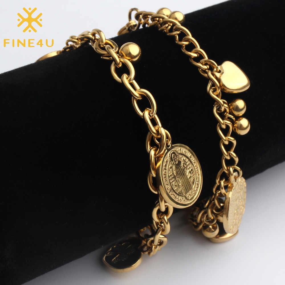 FINE4U B127 łańcuch rolo ze stali nierdzewnej bransoletka serce monety uroku bransoletki dla kobiet mężczyzn 2019 biżuteria religijna