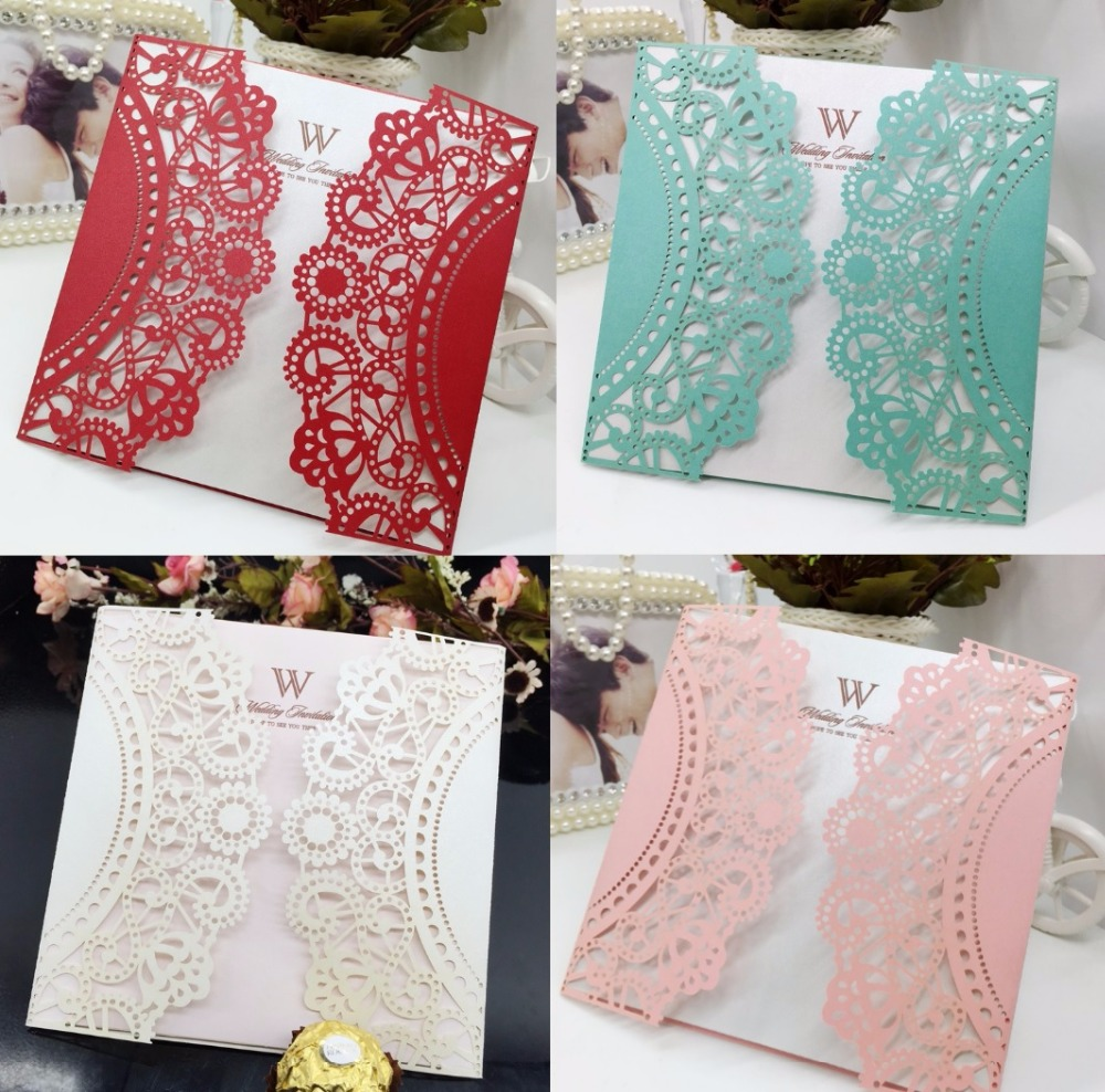 200pcs 150*150mm Laser Cut Hollow Lace Flower Invitations Card ...