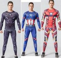 2017New Fashion Fitness Compression Shirt Men Superman Captain America Batman Spiderman Iron Man Crossfit Tshirt Gentle