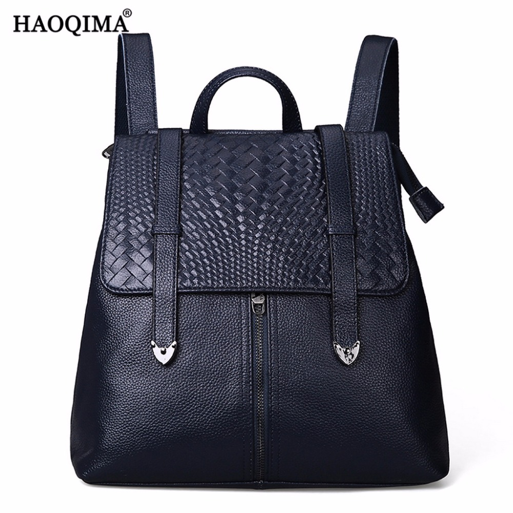 HAOQIMA 2018 New Girls Teenagers Female Genuine Leather Real Cowhide Women Travel Backpack Shoulder Bag Back Pack Sack 10pcs lot 2sc1577 c1577 to3 good qualtity hot sell free shipping buy it direct