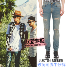 2015 New arrival justin bieber finishing the trend of retro vintage slim jeans