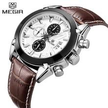 2017 nuevo reloj de los hombres de deporte wathces megir cronógrafo impermeable reloj militar de cuero genuino moda relogio masculino 2020
