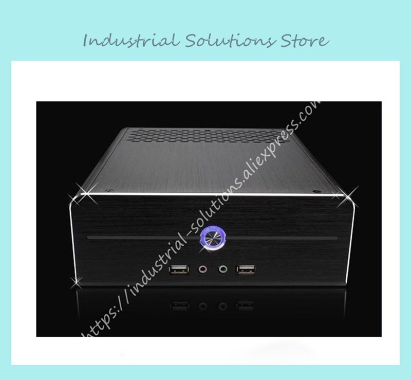 NEW FAN E-I5 aluminum htpc computer case e350 h61 hd perfect match i3 i7 e-i5 realan industrial high quality oem mini htpc desktop case e i7 with power supply cd rom expansion slots aluminum black silver