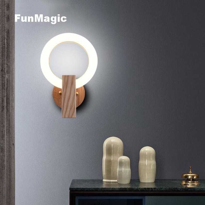 Post Modern Wood Wall Lamp Round Ring Acrylic Led Wall Lighting House Living Room Bedroom Decoration Sconces Art Lamps Luminaire Led Indoor Wall Lamps Aliexpress
