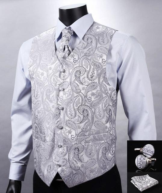 77d5c1463cf VE12 Silver Gray Paisley Top Design Wedding Men 100%Silk Waistcoat Vest  Pocket Square Cufflinks Cravat Set for Suit Tuxedo-in Vests & Waistcoats  from Men's ...
