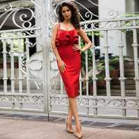 Vestido ceñido con tirantes y espalda descubierta para mujer, traje rojo con volante elegante para fiesta, venta al por mayor, 2019