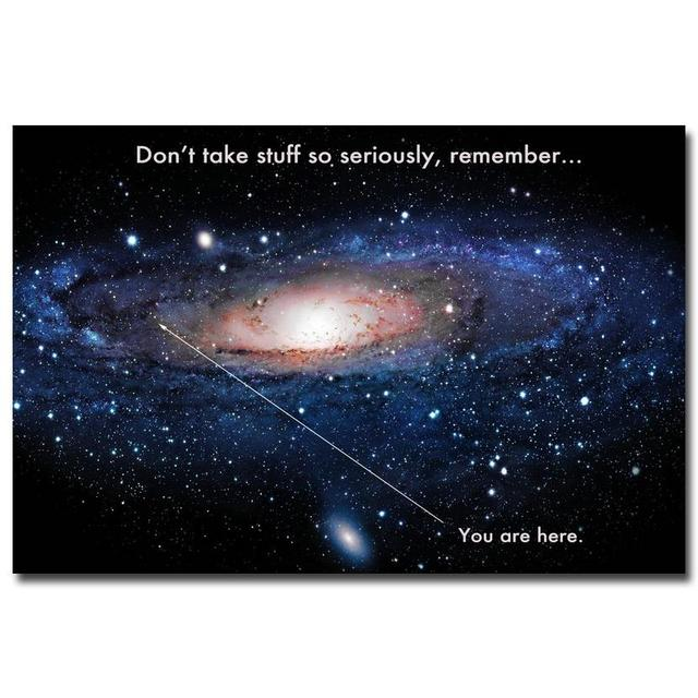 Milky Way Space Universe Funny Motivational Quote Education Art Silk Poster Print Modern Picture 053