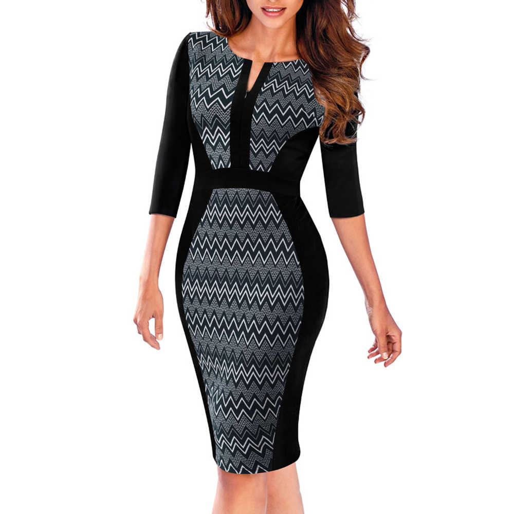 Vrouwen Casual Patchwork Rits Drie Kwart Vintage Herfst Werk Business Bodycon Schede Office Lady Jurk EB409