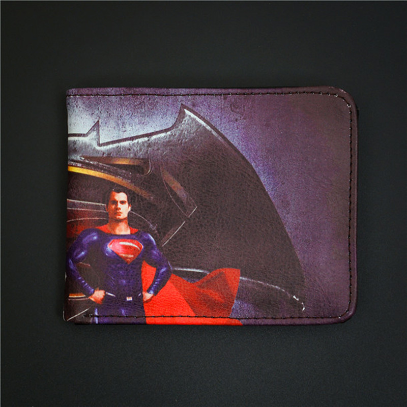 Fashion Wallets Comics DC Marvel Cartoon Animation Movie New Brand Batman Character Logo Purse Plastic Leather Wallet 4.5inch