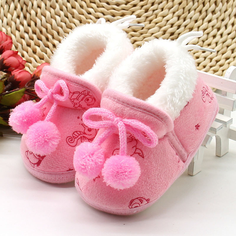 SAGUARO Cute Newborn Baby Girls Princess Bowknot Winter Warm First Walkers Soft Soled Infant Toddler Kids Girl Cack Shoes