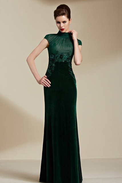 5d6f1670c0f7c4 Elegant Dark Green Velvet High Neck Appliques A-line Long Prom evening gown  2015 vestidos long lace Mother of the Bride Dresses