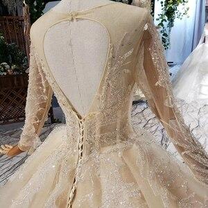 Image 5 - HTL627 lüks gelinlik uzun kollu o boyun ağır el yapımı boncuk gelinlikler 2019 keyhole geri vestido de novia con manga