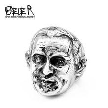 BEIER moda seçkin başkanı rus Putin yüz tasarım büyük adam yüzük benzersiz 316l paslanmaz çelik takı BR8-614