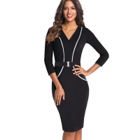 Women Elegant Optical Illusion Patchwork Contrast Slim Casual Work Office Business Belted Party Bodycon Pencil Dress