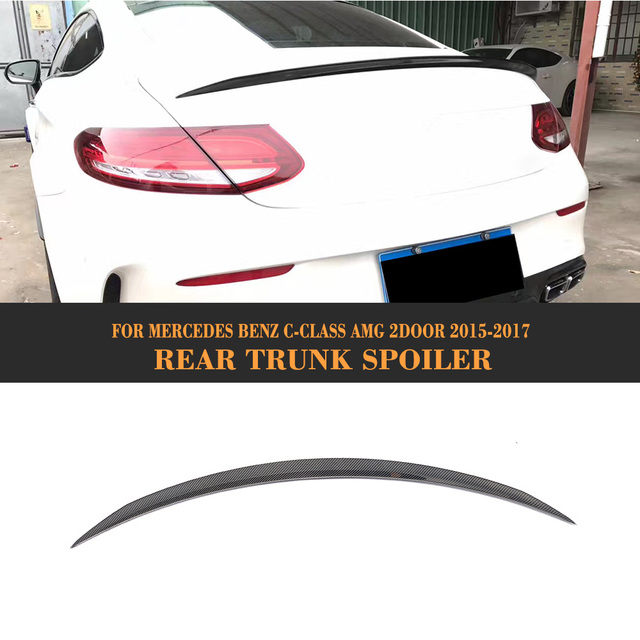 C Class Carbon fiber Rear Boot Lip Spoiler Wing for Mercedes Benz W205 C63 AMG Coupe 2 Door 15-17 O Style Car Cover