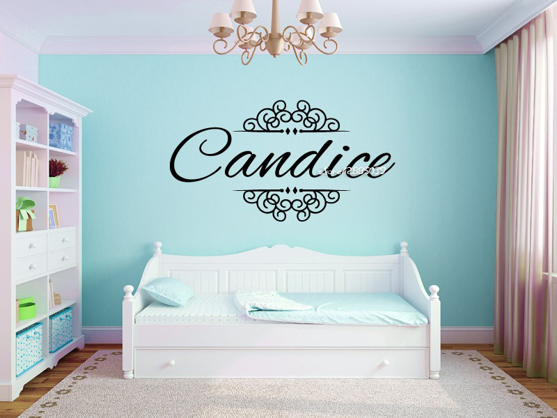 Elegant Ornamental Scroll Wall Stickers Personalized Name Monogram Girls Bedroom Vinyl Removable Wall Decal Home Decor