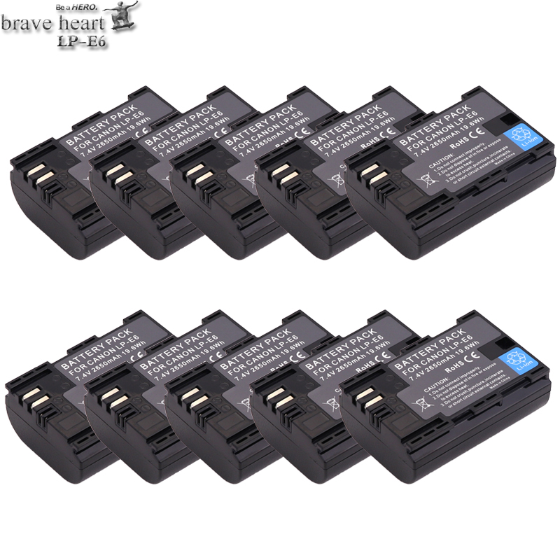 10pcs 2650mAh LP-E6 Hight Quality LP E6 LPE6 Camera Batteries For Canon 5D Mark II III 7D 60D EOS 6D ,for Canon Accessories