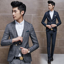 Recommended new tartans leisure suit boys business casual suit men all-match small Plaid suit