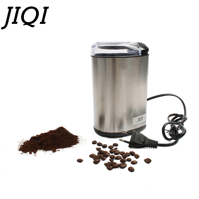 все цены на JIQI Electre Coffee Grinder Mill Cafe Powder Stainless Steel Blade Spice Nuts Grain Herb Cafe Beans Dry Grinding Machine EU Plug