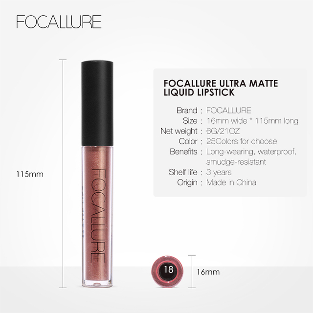 FOCALLURE 25 colors matte liquid lipstick waterproof long lasting nude velvet red matte lipstick top quality lip stick