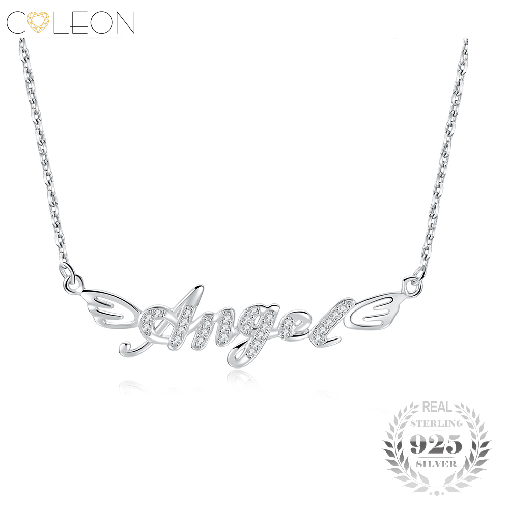 Sterling Silver 925 Angel Letter Pendant Necklace Long Link Chain Various Gemstones Romantic Women Valentines D Jewelry